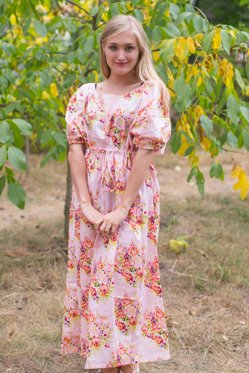 Pink Cut Out Cute Style Caftan in Floral Posy Pattern