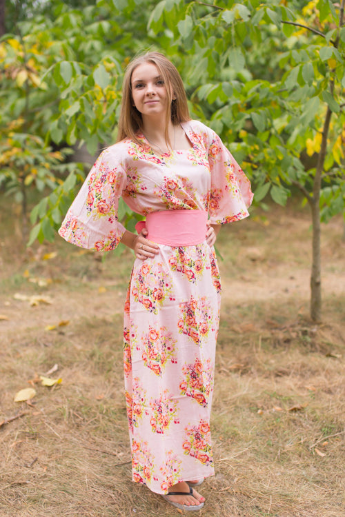 Pink Beauty, Belt and Beyond Style Caftan in Floral Posy