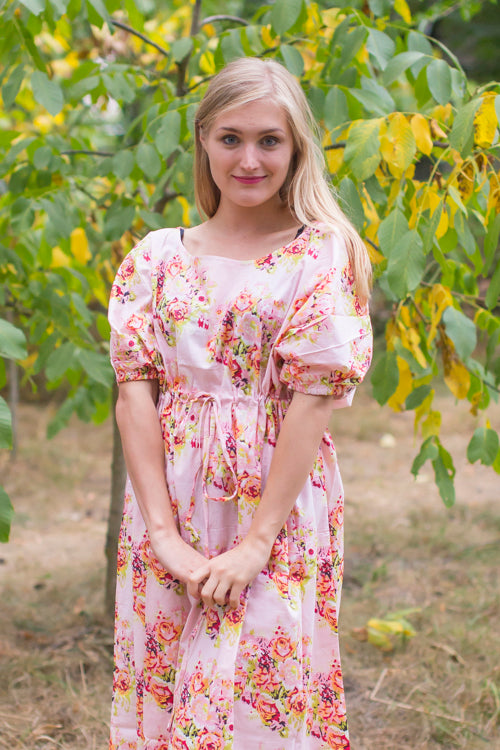 Pink Cut Out Cute Style Caftan in Floral Posy Pattern|Floral Posy|Pink Cut Out Cute Style Caftan in Floral Posy Pattern