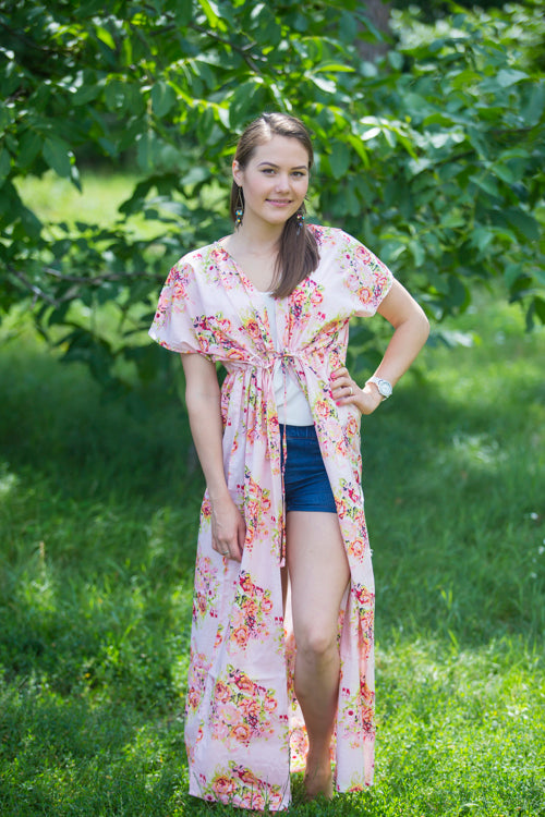 Pink Beach Days Style Caftan in Floral Posy