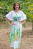 Mint Cut Out Cute Style Caftan in Floral Watercolor Painting Pattern|Mint Cut Out Cute Style Caftan in Floral Watercolor Painting Pattern|Floral Watercolor Painting