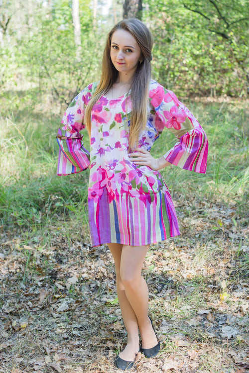 Pink Bella Tunic Style Caftan in Floral Watercolor Painting Pattern