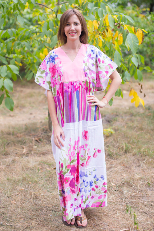 Pink Flowing River Style Caftan in Floral Watercolor Painting Pattern