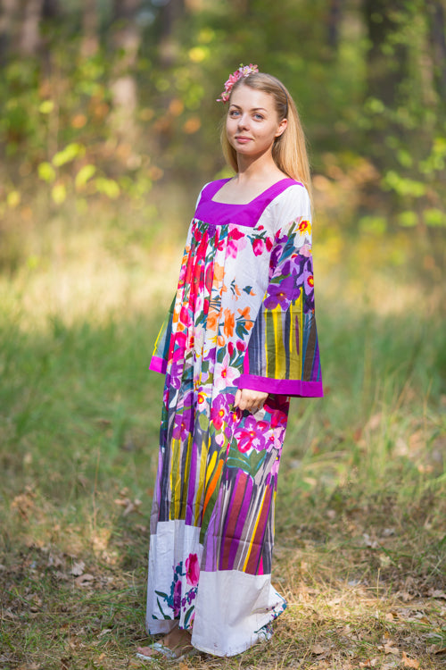 Purple Fire Maiden Style Caftan in Floral Watercolor Painting Pattern