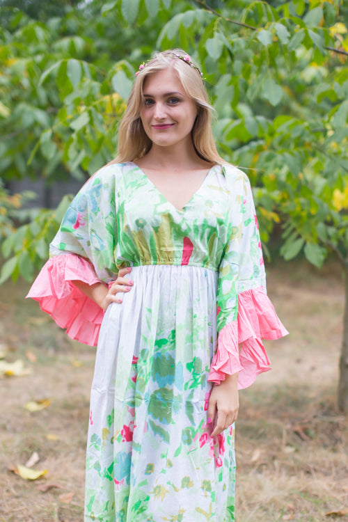 Mint Frill Lovers Style Caftan in Floral Watercolor Painting Pattern
