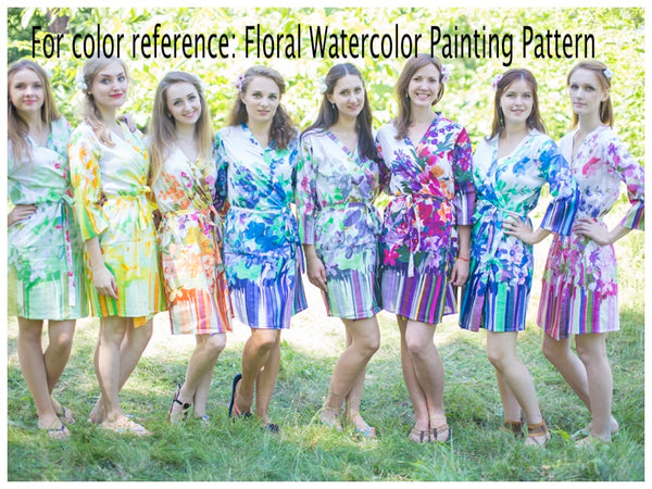 White Mint High Low Wind Flow Style Caftan in Floral Watercolor Painting Pattern