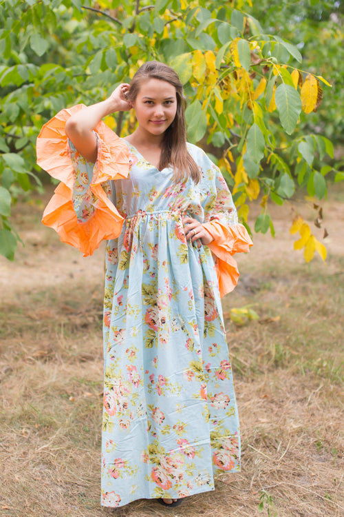 Light Blue Frill Lovers Style Caftan in Flower Rain Pattern