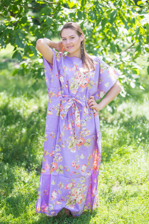 Lilac Divinely Simple Style Caftan in Flower Rain Pattern|Lilac Divinely Simple Style Caftan in Flower Rain Pattern|FlowerRain