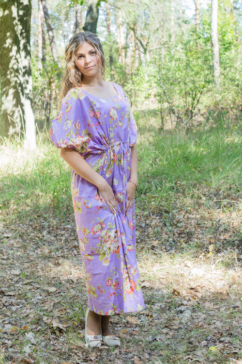 Lilac Cut Out Cute Style Caftan in Flower Rain Pattern