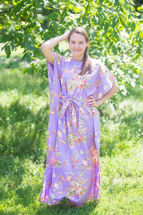 Lilac Divinely Simple Style Caftan in Flower Rain Pattern