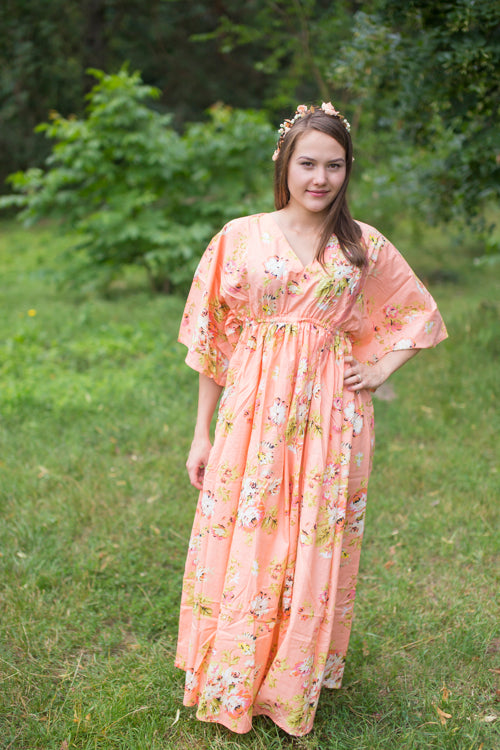 Peach I Wanna Fly Style Caftan in Flower Rain Pattern|Peach I Wanna Fly Style Caftan in Flower Rain Pattern|FlowerRain