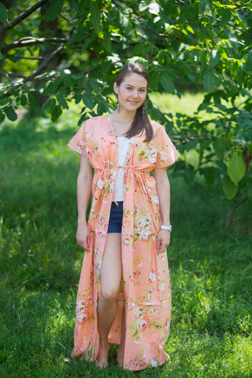 Peach Beach Days Style Caftan in Flower Rain|Peach Beach Days Style Caftan in Flower Rain|FlowerRain