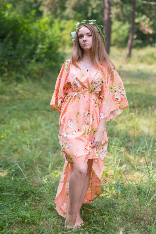 Peach High Low Wind Flow Style Caftan in Flower Rain Pattern|Peach High Low Wind Flow Style Caftan in Flower Rain Pattern|FlowerRain