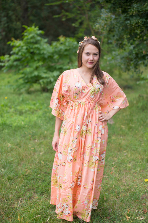 Peach I Wanna Fly Style Caftan in Flower Rain Pattern