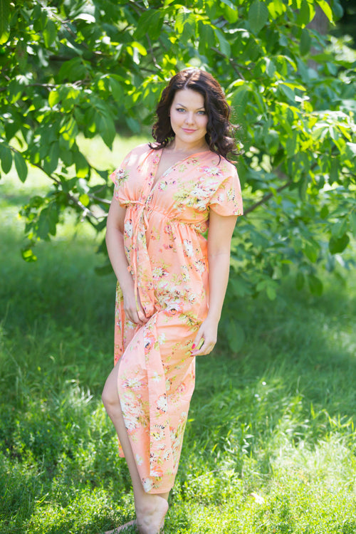 Peach Beach Days Style Caftan in Flower Rain