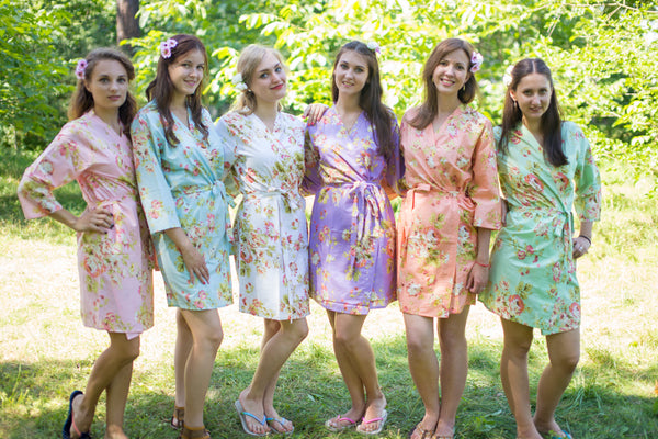 Mismatched Flower Rain Patterned Bridesmaids Robes in Soft Tones