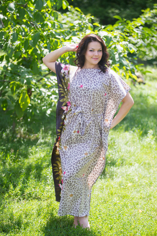 Brown Divinely Simple Style Caftan in Fun Leopard Pattern