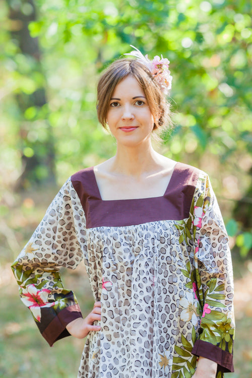 Light Brown Fire Maiden Style Caftan in Fun Leopard Pattern|Light Brown Fire Maiden Style Caftan in Fun Leopard Pattern|Fun Leaopard