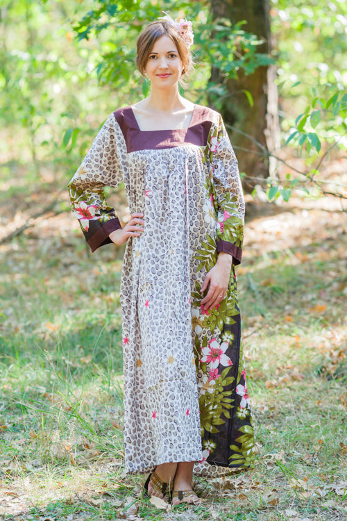 Light Brown Fire Maiden Style Caftan in Fun Leopard Pattern