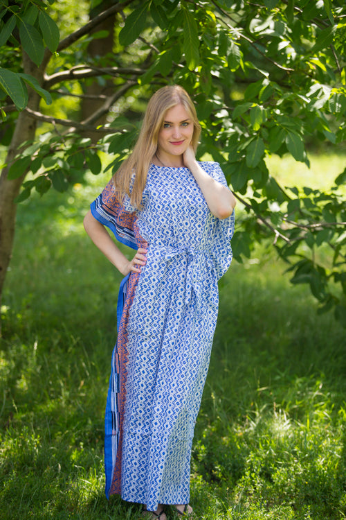 Dark Blue Divinely Simple Style Caftan in Geometric Chevron Pattern