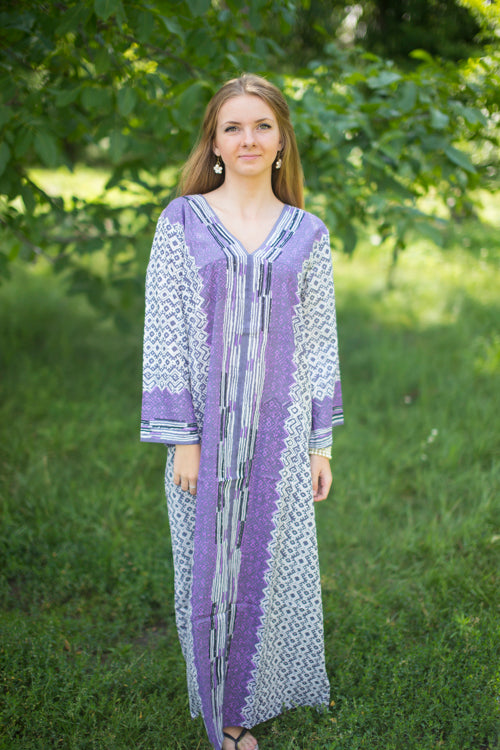 Gray The Glow-within Style Caftan in Geometric Chevron Pattern