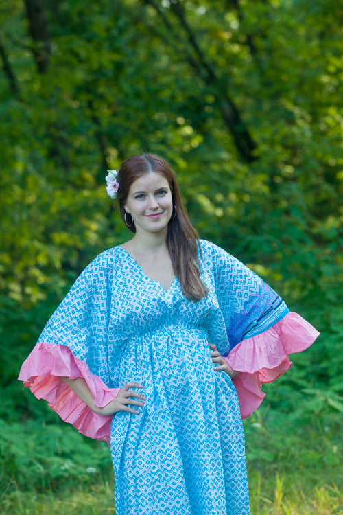 Light Blue Frill Lovers Style Caftan in Geometric Chevron Pattern