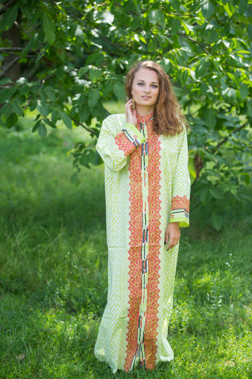 Light Green Charming Collars Style Caftan in Geometric Chevron Pattern