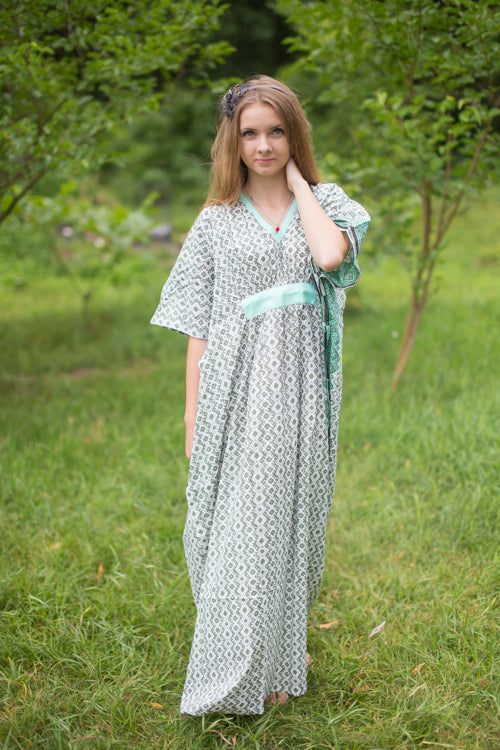 Olive Green Unfurl Style Caftan in Geometric Chevron Pattern