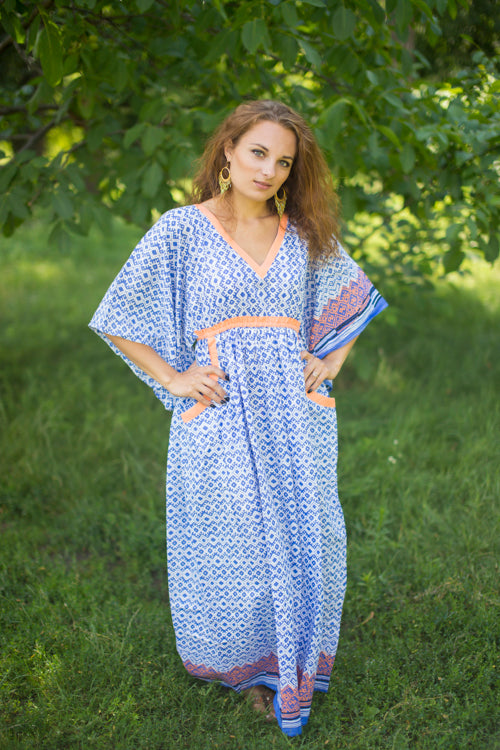 Royal Blue Breezy Bohemian Style Caftan in Geometric Chevron Pattern