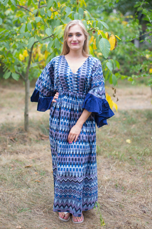 Blue Frill Lovers Style Caftan in Geometrica Pattern|Blue Frill Lovers Style Caftan in Geometrica Pattern|Geometrica