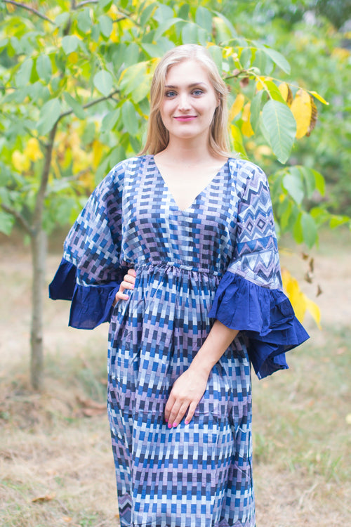 Blue Frill Lovers Style Caftan in Geometrica Pattern