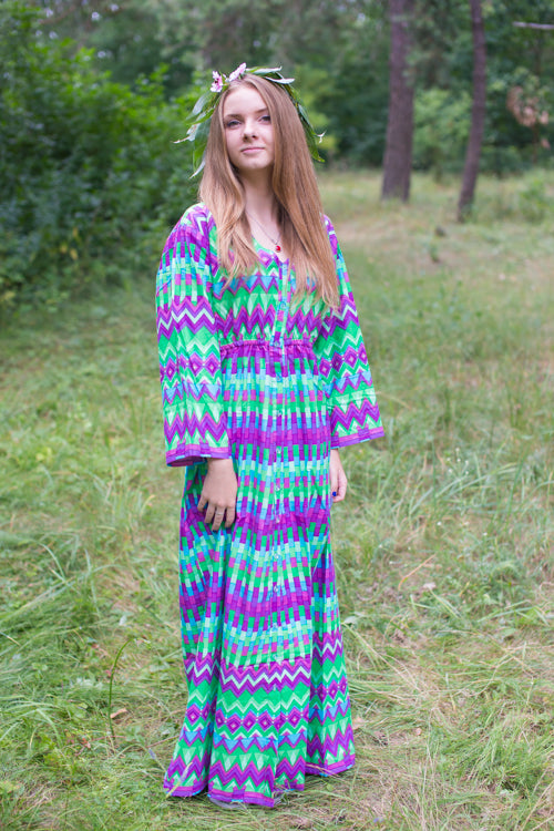 Bright Green Button Me Down Style Caftan in Geometrica Pattern|Bright Green Button Me Down Style Caftan in Geometrica Pattern|Geometrica