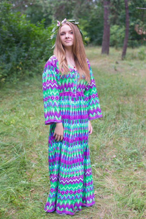 Bright Green Button Me Down Style Caftan in Geometrica Pattern