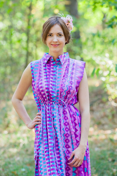 Purple Cool Summer Style Caftan in Geometrica Pattern|Purple Cool Summer Style Caftan in Geometrica Pattern|Geometrica