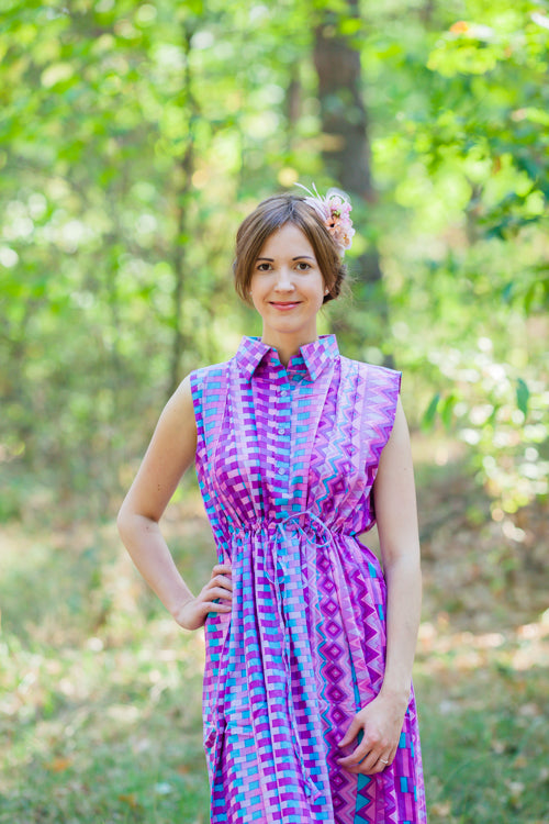 Purple Cool Summer Style Caftan in Geometrica Pattern