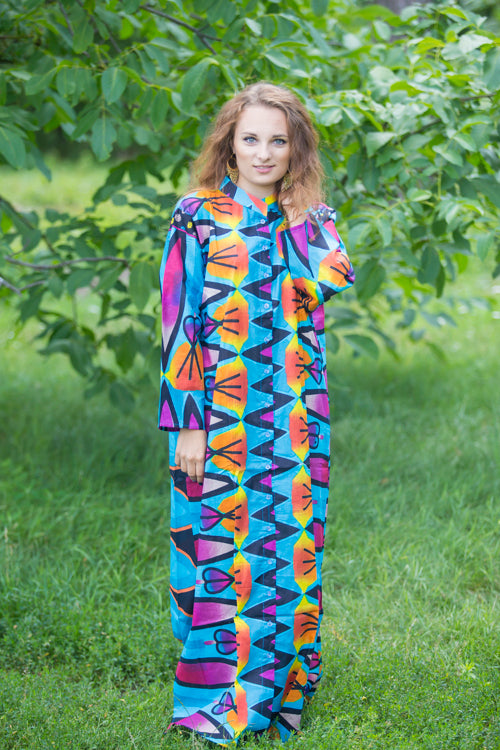 Blue Charming Collars Style Caftan in Glowing Flame Pattern|Blue Charming Collars Style Caftan in Glowing Flame Pattern|Glowing Flame