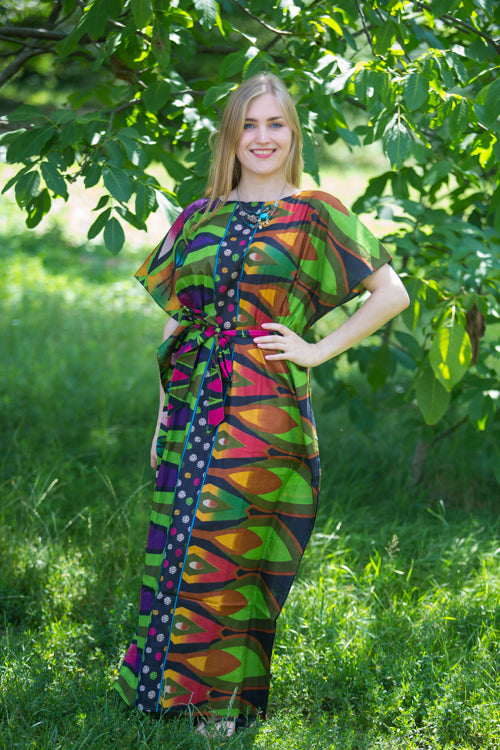 Green Divinely Simple Style Caftan in Glowing Flame Pattern