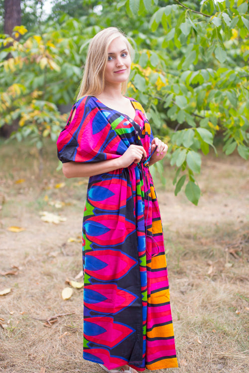 Magenta Cut Out Cute Style Caftan in Glowing Flame Pattern|Magenta Cut Out Cute Style Caftan in Glowing Flame Pattern|Glowing Flame