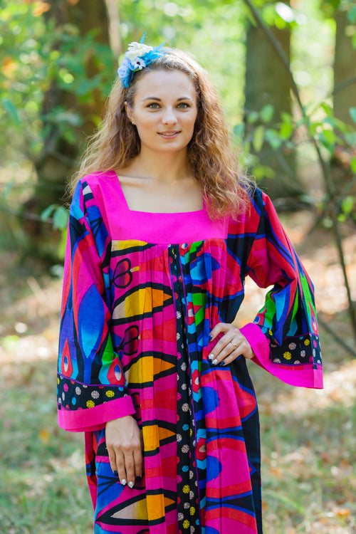 Magenta Fire Maiden Style Caftan in Glowing Flame Pattern|Magenta Fire Maiden Style Caftan in Glowing Flame Pattern|Glowing Flame