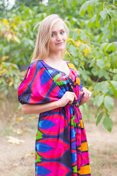 Magenta Cut Out Cute Style Caftan in Glowing Flame Pattern