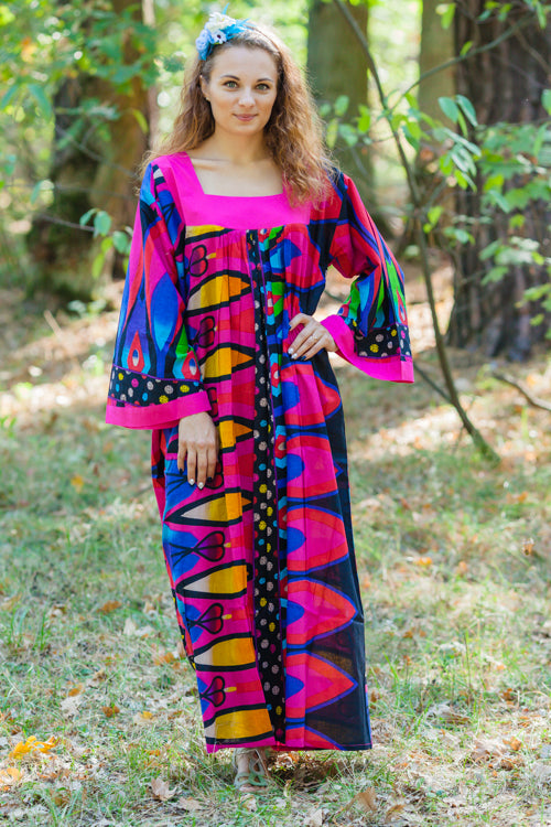 Magenta Fire Maiden Style Caftan in Glowing Flame Pattern