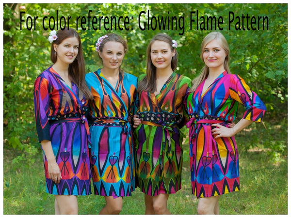 Blue Charming Collars Style Caftan in Glowing Flame Pattern