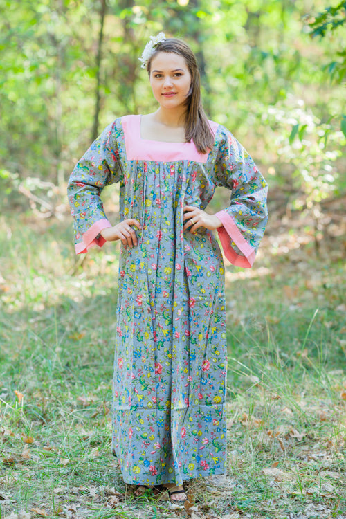 Gray Fire Maiden Style Caftan in Happy Flowers Pattern