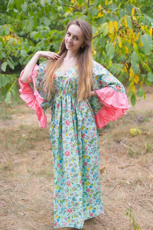Mint Frill Lovers Style Caftan in Happy Flowers Pattern|Mint Frill Lovers Style Caftan in Happy Flowers Pattern|Happy Flowers