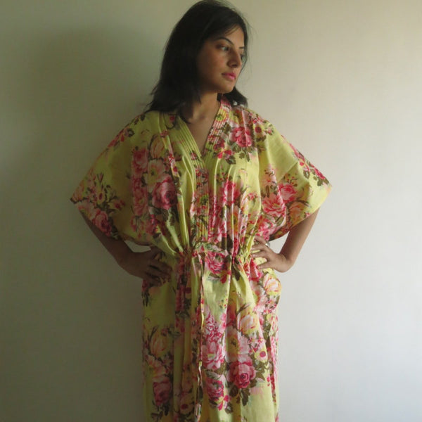 Yellow Floral V-Neck Button Down to Waist, Ankle Length, Cinched Waist Caftan