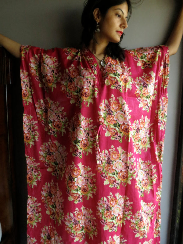 Magenta Flower V-Neck, Ankle Length, Cinched Waist Caftan-C5 fabric Code