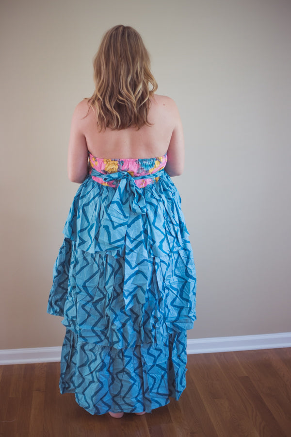 Teal Chevron Frill Maternity Maxi Dress