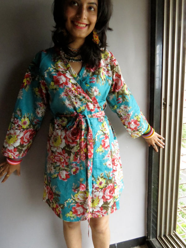 Teal Floral Knee Length, Kimono Crossover Belted Robe- A1 fabric Code