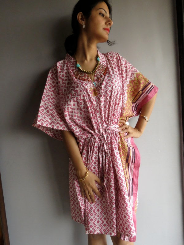Pink Checks V-Neck, Knee Length, Cinched Waist Caftan