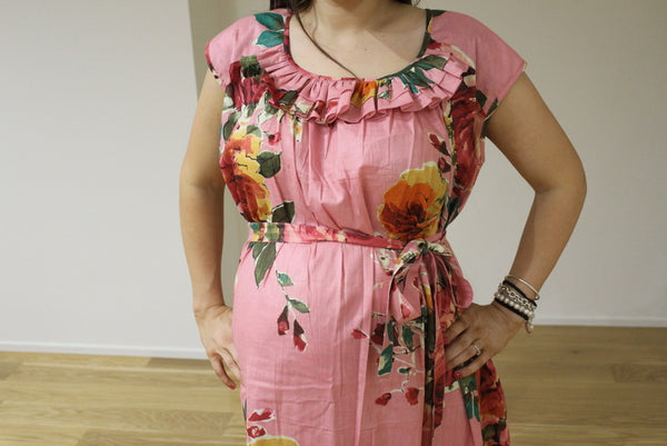Floral 50s style Maxi Maternity Dress